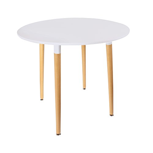 THE HOME DECO FACTORY HD3210 Table Blanche Ronde, Bois/Métal/PP, Blanc, 76x76x75,5 cm