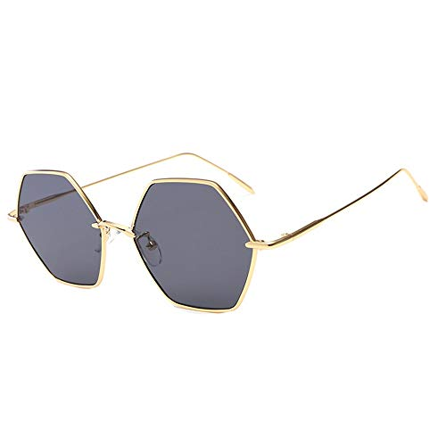 DKEE Gafas de Sol UV400 Gris Marrón Polígono Gafas De Sol De Marco Grande Gafas De Sol De Hombre Y Mujer Espejo Plano (Color : Gray)