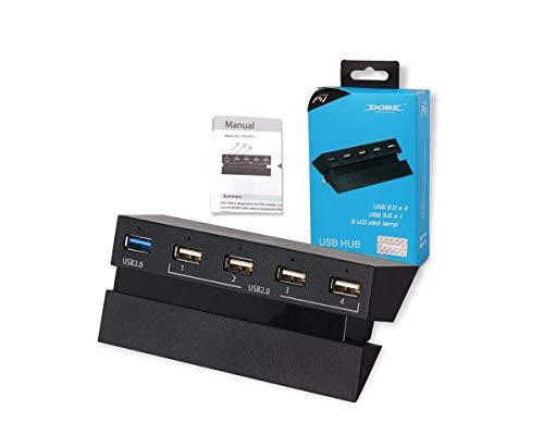 PS4 USB Hub 3.0 - USB 3.0-uitbreidingsadapter met 5 poorten met LED-indicator voor PSVR-headset, controller, opslag op harde schijf, oplader voor PlayStation 4-console