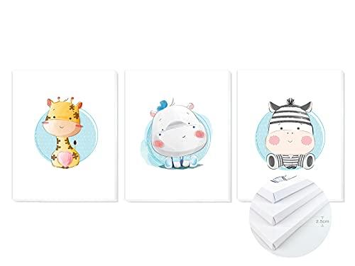 Pack 3 Tríptico cuadros con marco decorativos de lienzo impreso infantiles para decoración pared habitación dormitorio niños con bastidor de madera - 3 cuadros tamaño 40x50cm (Animales Azul)