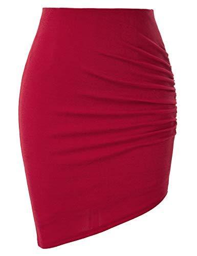 Women Red Pencil Skirt Stretch High Low Body Con Mini Skirt Asymmetrical Hem-1 S