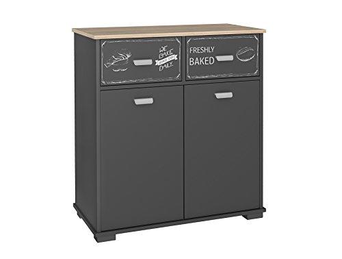 Buffet basso da cucina a 2 ante e 2 cassetti: Grigio grafite dimensioni: 90 cm