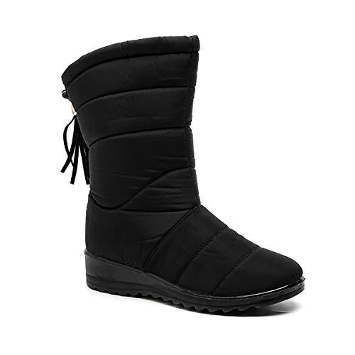 HUAJI Botas De Invierno Zapatos De Invierno para Mujer Comida Caliente Botas De Invierno Botas De Nieve Antideslizantes Al Aire Libre,Negro,35