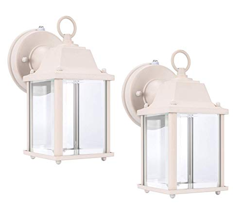 LIT-PaTH Dusk to Dawn Outdoor Wall Lantern, LED Wall Sconce, 5000K Daylight White, 9.5W (75W Equivalent) , 800 Lumen, Aluminum Housing Plus Glass, Outdoor Rated, 2-Pack (White)