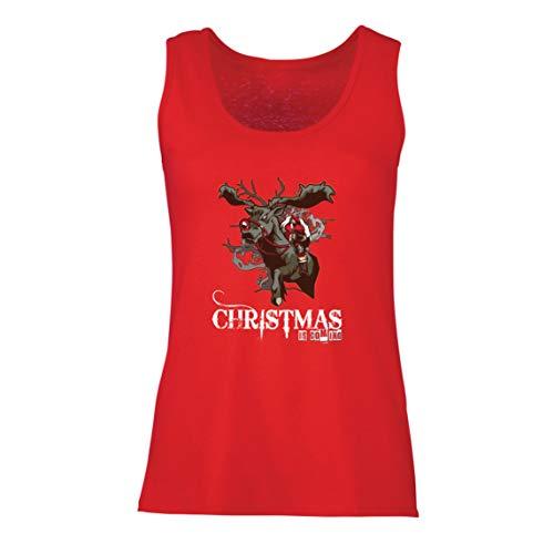 lepni.me Camisetas sin Mangas para Mujer La Navidad se Acerca Ideas de Regalos de Santa Navidad (Medium Rojo Multicolor)