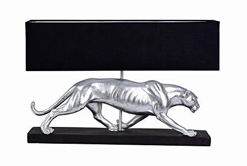 Art Deco Leuchte Panther Silber Schwarz Tischlampe Tischleuchte Leopard Lampe cw225 Palazzo Exklusiv