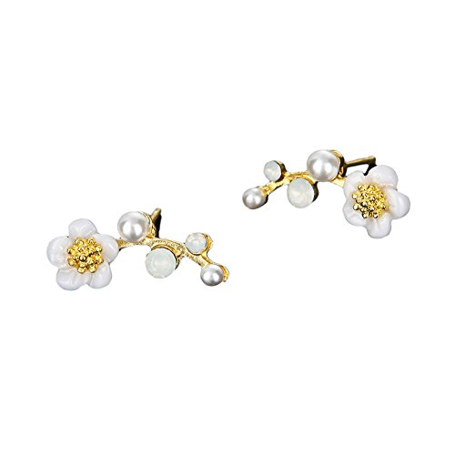 Nikgic 1 Pair Fashion Exquisite Branch Earrings Pearl and Flower Stud Earrings for Girls Women Jewellery Gifts Temperament Earrings (Golden)