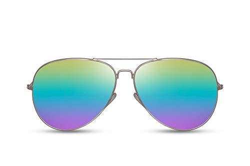 Cheapass Pilotensonnenbrille Gold Regenbogenfarben Verspiegelt UV-400 Metall Damen Herren