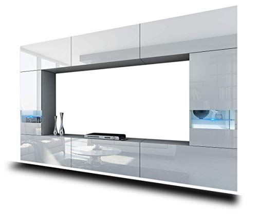 HomeDirectLTD FUTURE 29 Wall Console Unit, Premium Entertainment Package, High Gloss/Mat, TV Stand, Modern Display Units, Suite, Many Colours (RGB LED Lighting Available) (29_HG_W_2, RGB remote)