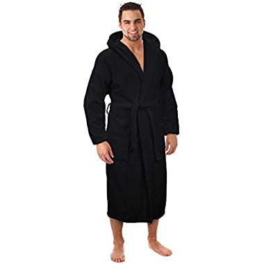 Hooded Terry Bathrobe Made in Turkey, Black, One Size