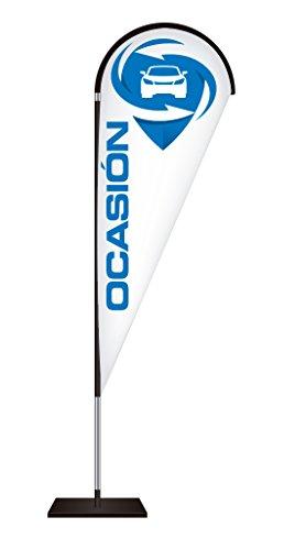 Fly Banner Tipo Gota Automoción | Banderola publicitaria | Talla S Medidas totales: 68x200cm (ancho x alto) | Banderola publicitaria tipo Fly banner talla S | Varios Colores | Blanco y texto azul |