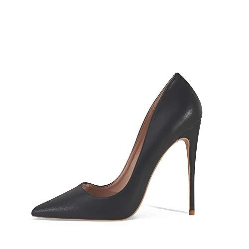 Zapatos de tacón alto con punta puntiaguda para mujer, sexy, tacones de aguja, 12 cm, zapatos de tacón alto, color Negro, talla 41 EU
