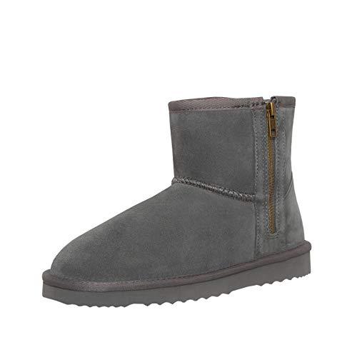 SKUTARI Classic Zipper Boots, In Handarbeit gefertigte italienische Damen-Lederstiefel mit kuscheligem Kunstfell und Anti-Rutsch-Sohle (40 EU, Grau)