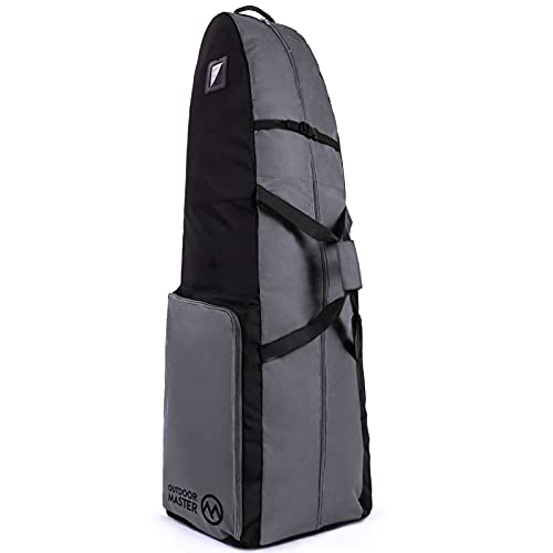 OutdoorMaster Upgrade Padded Golf Travel Bag, 600D Heavy Duty Golf Club Bag Oxford Waterproof Golf Bag Travel Case with Wheel, Soft-Sided General Size - Salvator - Black & Grey