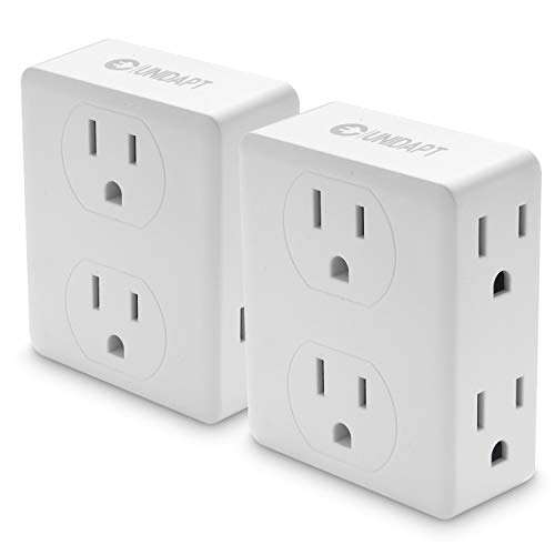 Multi Plug Outlet Splitter, Unidapt Multiple Outlet Extender Adapter with 6 Electrical Outlets, Side Outlet Splitter Box, Wall Tap Power Plug Expander for Home Hotel Office Dorm Essentials, 2-Pack