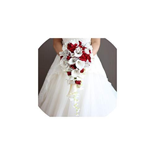 Künstliche Blumen Braut Wasserfall-Hochzeit Blumenstrauß mit Kristallbraut Brosche Bouquets, Rot