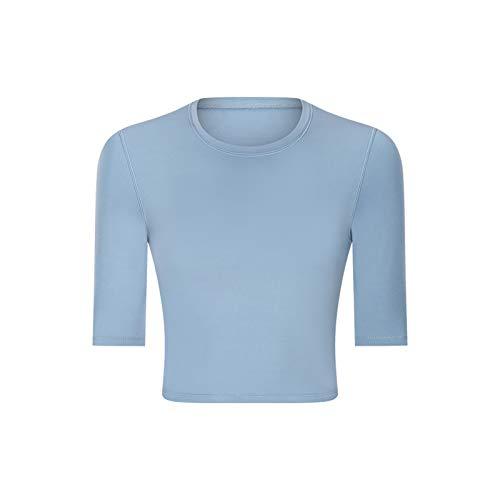 JQAM La Aptitud del Deporte del Ombligo de Las Mujeres Remata la Camiseta de la Yoga con la Almohadilla del Pecho Delgada era Delgada para el Gimnasio, Corriendo (Color : Blue, Size : 12)