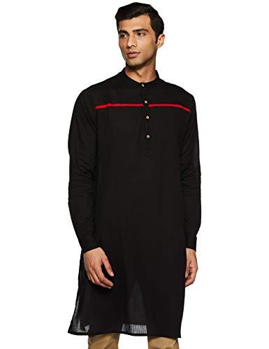 Nayak Men's cotton achkan Kurta (SS19/NAY-1016 A_ Black_ Medium)
