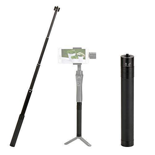 Aluminium Handverlängerungsstange Selfie Stick mit 1/4 Schraubadapter Vier Abschnitte Erweitern 17 cm - 74 cm Kompatibel für DJI OSMO Mobile 3 2 / Kardanstabilisator Feiyu/Zhiyun Smooth Q & 4.