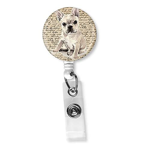 Adorable Frenchie French Bulldog Retro Vintage Retractable Badge Reel ID Holder