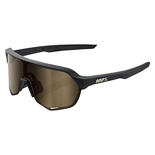 100% Gafas de sol S2 Sport Performance - Gafas de deporte y ciclismo, (Negro mate – Lente dorado suave.), Talla única
