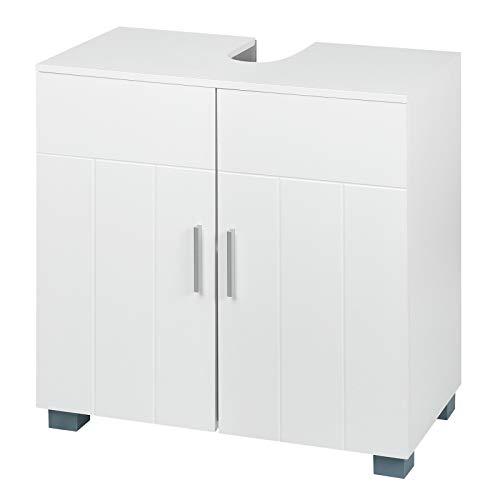 WOLTU Mueble de Baño Mueble para Debajo del Lavabo Madera, 2 Puertas para Cuarto de Baño Estante de Baño 30x60x60cm, Blanco BZS48ws