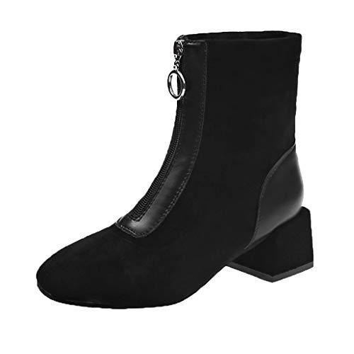 Supertong Damen Stiefeletten Chelsea Boots mit Blockabsatz Winter Warm Flache Stiefel Jugend...