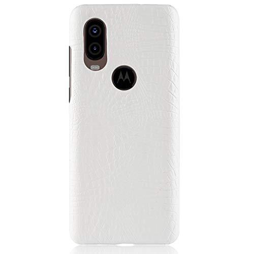 Para Motorola Moto One Vision / P40 capa de couro sintético com estampa de crocodilo (Branco)
