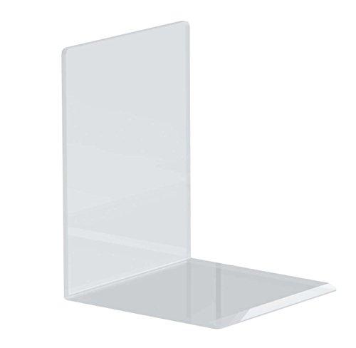 Maul Buchstützen aus hochwertigem Acryl, glasklar, 10 x 10 x 13 cm (4 Stück)