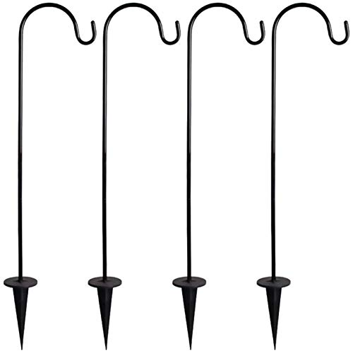 Sarazong 4Pcs Outdoor Shepherd Hooks, Garden Flowerpot Bird Feeders Stand Courtyard Hanging Hook