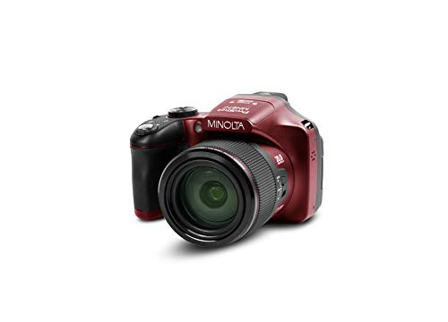Minolta Pro Shot 20 Mega Pixel HD Digital Camera with 67x Optical Zoom, Full 1080p HD Video & 16GB SD Card (Red)