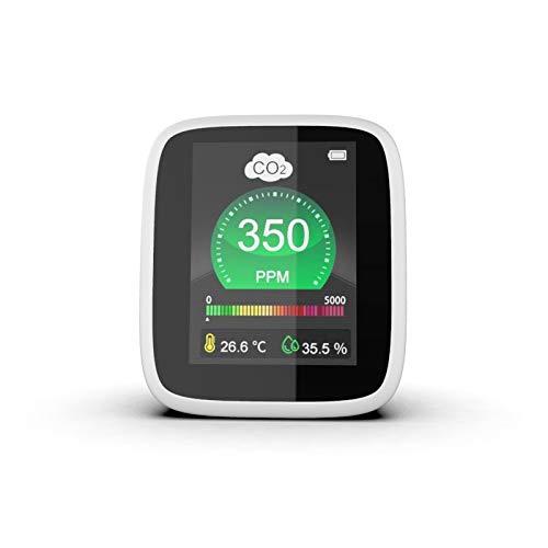 Detector de CO2, TTLIFE, detector de CO2 3 en 1, medición de temperatura, humedad y calidad del aire, probador de monitor de CO2 con pantalla LCD de 1000 mAh y con cable USB