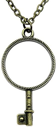 Yiffshunl Collar de Moda Vintage Bronce Antiguo Color Plata Antigua 46X25 Mm Forma de Llave Marco de Metal Colgante Collar joyería Femenina