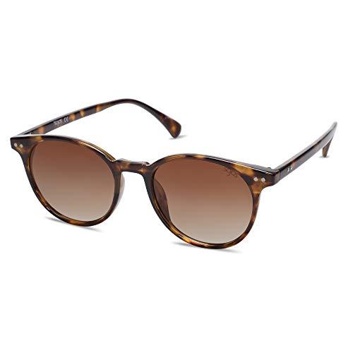 SOJOS Damen Herren Sonnenbrille Polarisiert Brille UV400 Schutz Vintage Runde Kleine für Schmales Gesicht SJ2113 (C7 Demi Rahmen/Gradiente Braune Linse)