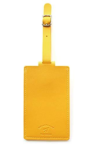 バンガード 旅行用品 ネームタグ スーツケースタグ おしゃれ 革 型押し フェイク レザー イエロー