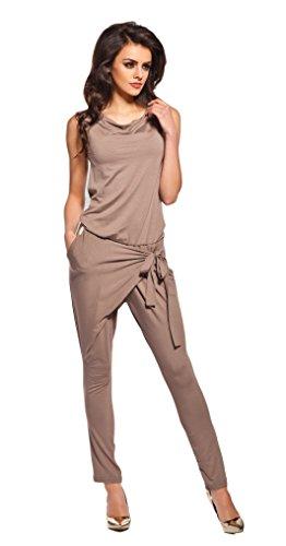 Lemoniade stylischer Jumpsuit ohne Ärmel mit elegantem Wasserfallkragen, Cappuccino, Gr. L