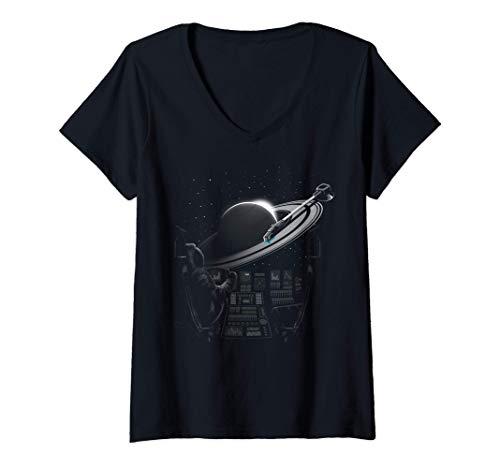 Damen Planetary Plattenspieler T-Shirt mit V-Ausschnitt
