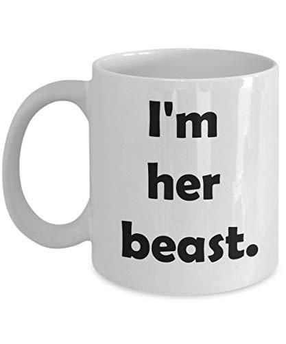 Taza de regalo novedosa de la Bella y la Bestia de Disney para esposa, novia, hermana, taza de cerámica para café y té, soy su bestia