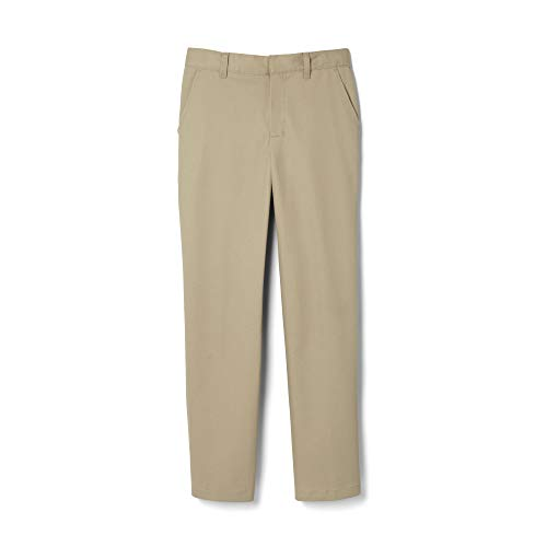 French Toast Little Boys' Flat Front Double Knee Pant, Khaki, 5