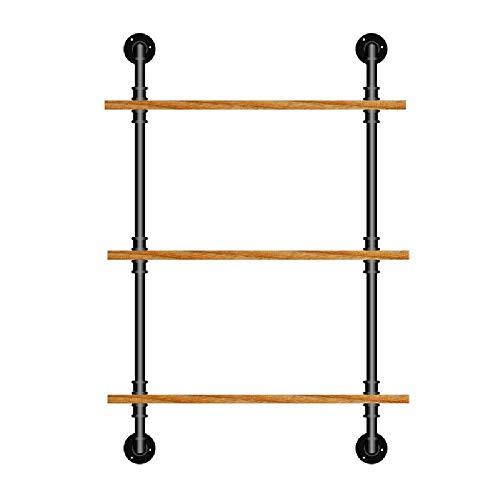 KMILE Estantería de pared industrial para escaleras, de hierro para bricolaje (color: 3 capas)