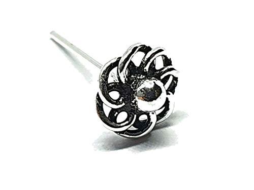 Eclectic Shop Uk Espiral para la nariz de la rueda del sol celta, 22 g (0,6 mm), plata 925, recta, L flexible