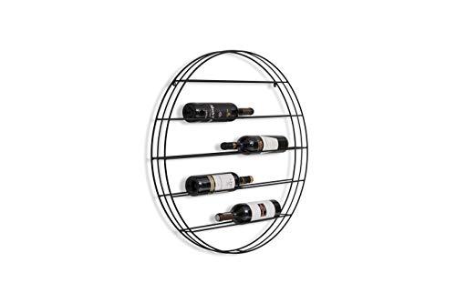 LIFA LIVING Rundes Weinregal aus schwarzem Metall im Industrial Design, für 8 Flaschen, hängende Flaschenaufbewahrung an der Wand, modernes Flaschenregal, Ø 75cm