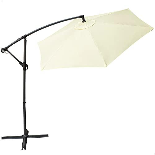 Aktive 53887 - Parasol excéntrico, Sombrilla, Parasol terraza, mástil acero, con manivela, giratorio 360º, Ø 300 cm, color crema