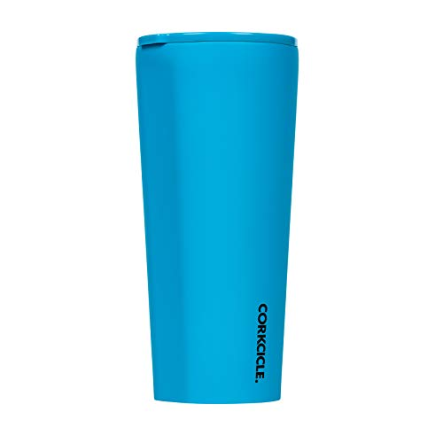 Corkcicle 24oz Tumbler - Neon Lights Collection - Triple Insulated Stainless Steel Travel Mug, Neon Blue