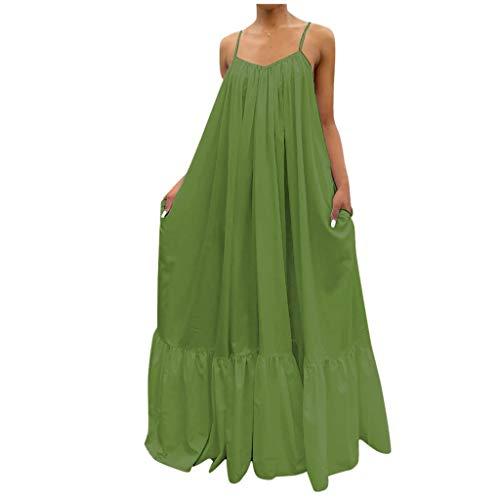 NISOWE Vestido informal para mujer con correa fija, bolsillo suelto y espalda descubierta. verde XL