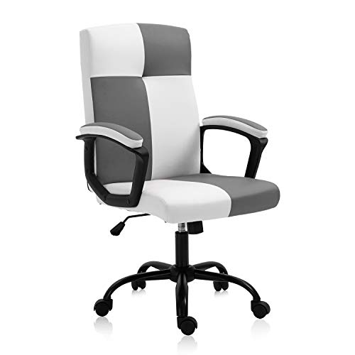 SEATZONE High Back Home Office Desk Chair PU Leather Rolling Swivel Adjustable Computer Chair Ergonomic Executive Chair with Wheels,White&Grey