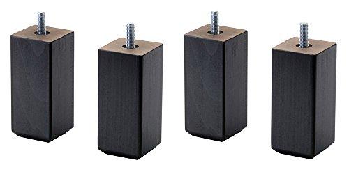 Ikea Stubbarp Möbelbeine, 4 Stück, Schwarz / Braun