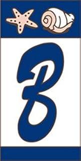 "Earthtones 3"" X 6"" Ceramic Tile Nautical Address House Number Display Alphabet Letter B"