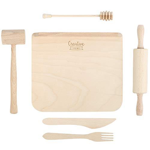 Creative Home Juego de Utensilios de Cocina para Niños | Madera de Haya Natural | Kit de 6 Compartimentos | Set de Herramientas Pequeñas para Cocinar