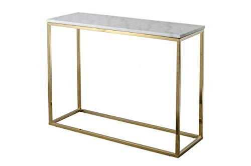 RGE Accent, Rechteckiger Konsolentisch Marmor und glänzender Goldrahmen im modernen klassischen Stil, Weiß, marmoriert, B 100 cm, H 75 cm, T 35 cm